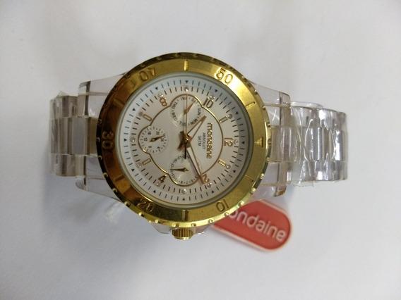 Relógio Analógico Multifuncional Transparente Feminino