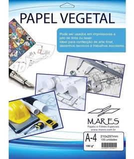 Papel Vegetal A4 180g. 210x297mm Cx.c/100 Convites Desenhos