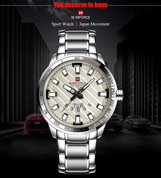 Relógio Masculino De Aço Prata - Original - Grande E Pesado