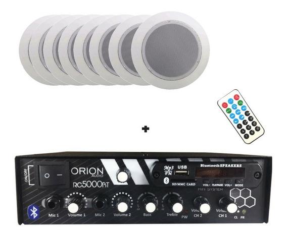 Kit Som Ambiente 300w Bluetooth +8 Caixa P Gesso Red Branca