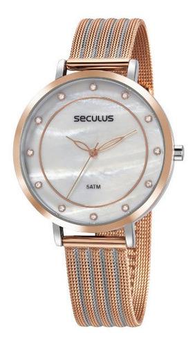 Relógio Seculus Feminino Rosê 5 Atm Pulsei Mesh 77041lpsvgs2