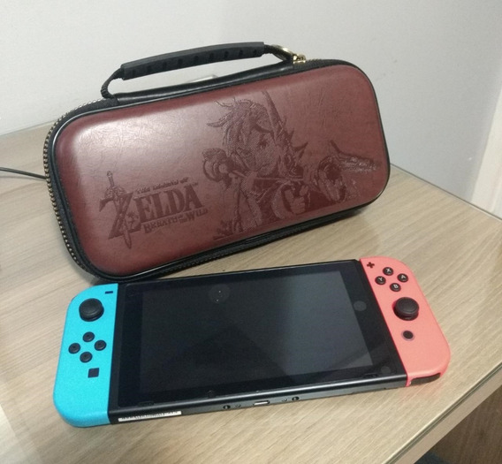 Nintendo Switch Novo Com Capa Da Zelda E 2 Jogos