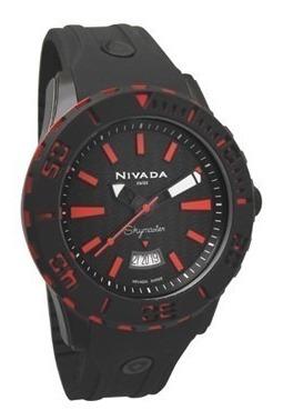 Reloj Nivada Np11200mneri Caballero Skymaster Negro Con Rojo