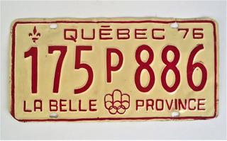 Placa De Carro Quebec Canada - La Belle Province Anos 70