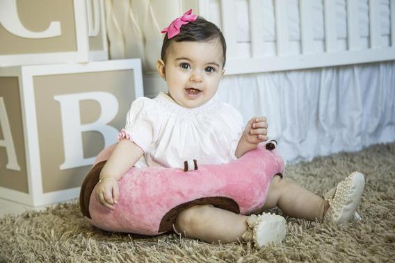 Sofá Almofada Senta Bebê Poltrona Pelúcia Rosa Frete Grátis*