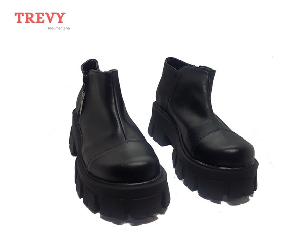 Zapatos Mujer Botineta Plataforma Pu Negro