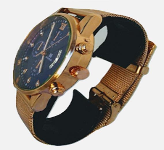 Relógio Masculino Luxo Dourado 548 Original Pronta Entrega