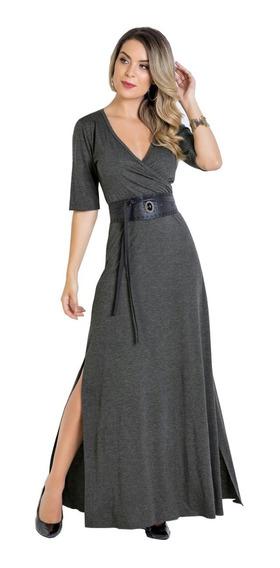 Vestido Longo Com Fenda Decote Transpassado Moda Blogueira