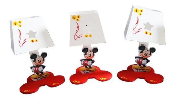 12 Lámparas Mickey Mouse Centro Mesa Infantil Madera