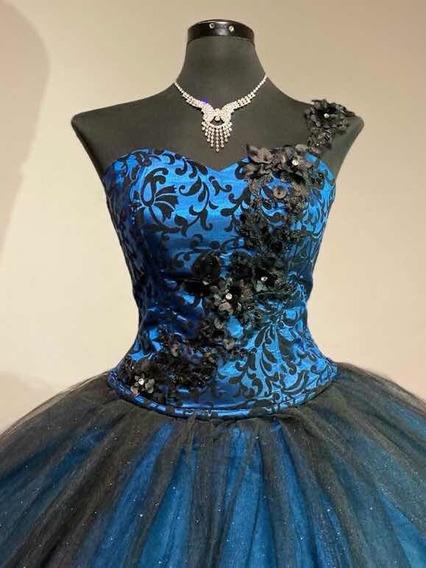 Vestido De Xv Años C/flores 3d Desmontable Nuevo Fino