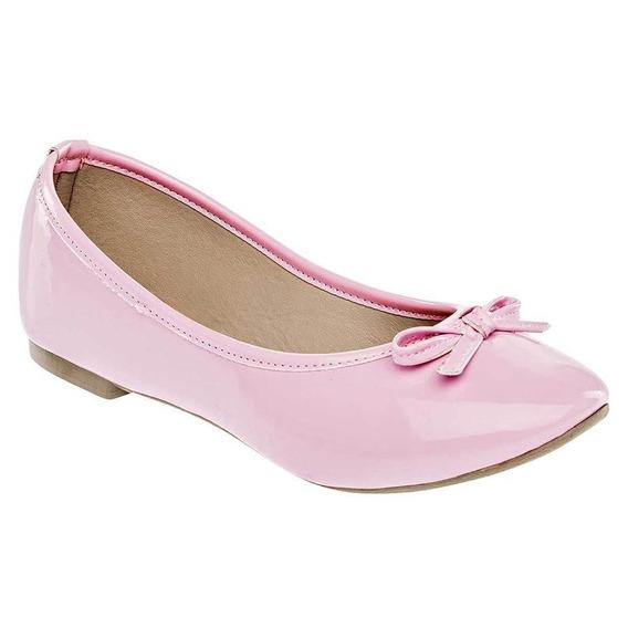Zapato De Piso Flats Dama Sexy Girl 3002 Rosa Charol 22-26 *687-871 T4