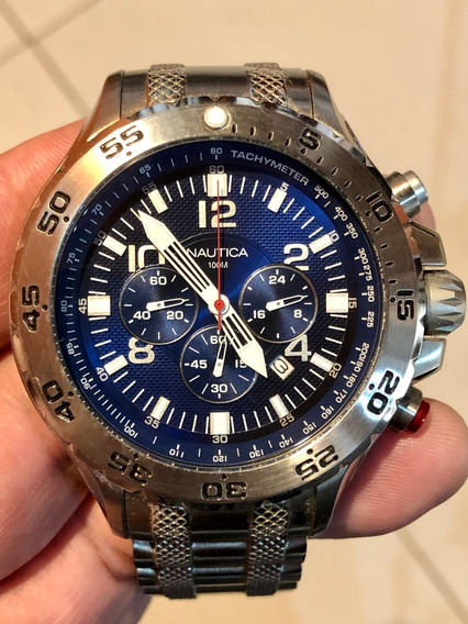 Relógio Nautica N19508g Prata Fundo Azul Kkp4587