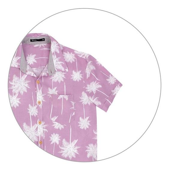 Camisa Masculina Em Tecido Estampado Hering