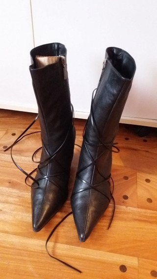 Bota Stiletto De Cuero Con Tiras Lady Stork Como Nuevas Negro