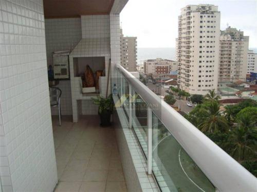 Vista Mar E Morro, Excelente 02 Dormitórios, Sendo 01 Suíte, 2 Sacadas, Uma Com Varanda Gourmet, Bairro Aviação, Praia Grande/sp. - Ap1486