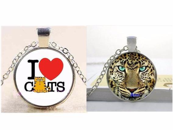 Conj Colares I Love Cats + Leopardo Prata Amor Aos Gatos