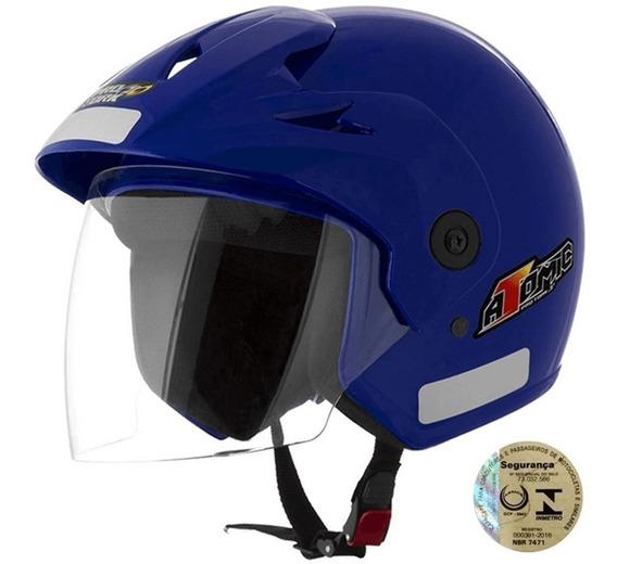 Capacete Tamanho 56 Para Moto Super Resistente Azul Aberto