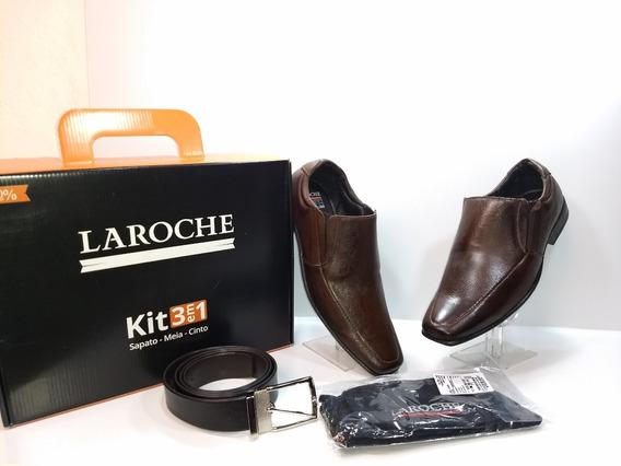 Kit 3 Em 1 Laroche Sapato Social/meia/cinto Ref: 2609-choc