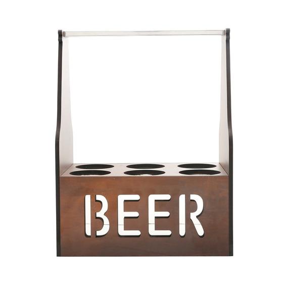 Porta Cerveja Térmico Para 06 Garrafas Em Madeira Quartzo Wo