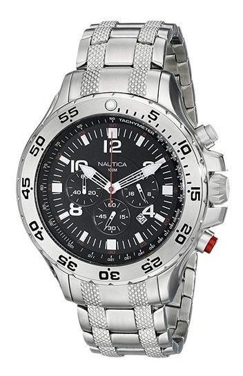 Relógio Vxv34 Nautica Preto Chronograph N19509g Puls. Aço