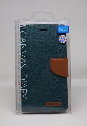 Funda Redmi Note 2 Mercury Goospery Canvas Diary Verde