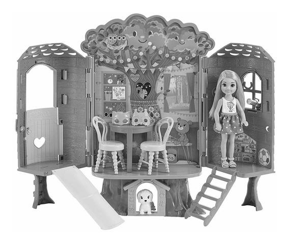 Playset E Boneca - Barbie Club - Casa Da Árvore Da Chelsea -