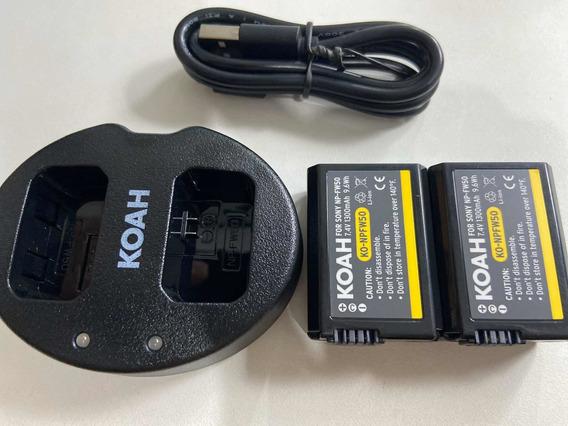 Kit Carregador Sony Np-fw50 + 2 Baterias Fw50