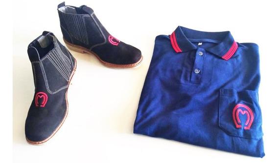 Botina Country Peão + Camisa Polo Mangalarga Envio Grátis