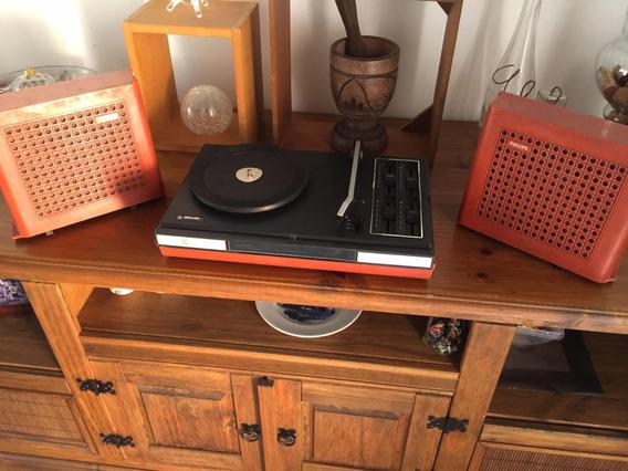 Rádio Antigo Vitrola Portátil Philips Gf623 Toca Disco