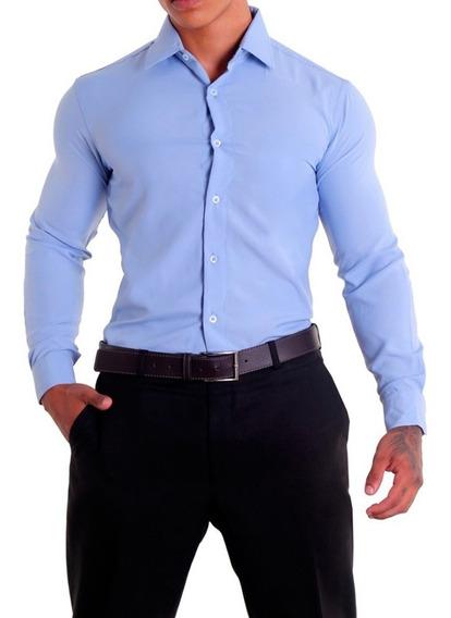 Camisa Social Masculina Manga Longa Slim Fit Sem Bolso
