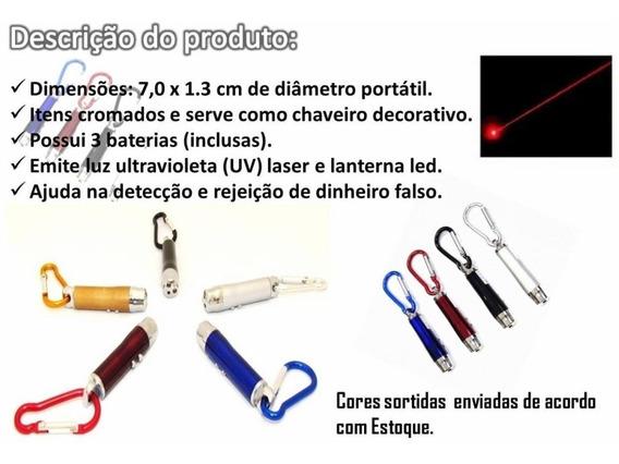 10 Testa Nota Falsa Chaveiro Mosquetão Lanterna Luz Negra