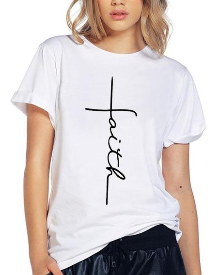 Blusa Playera Camiseta Dama Cruz Faith Fe Elite #509