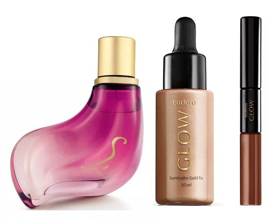 Perfume Eudora S. Premium + Glow Iluminador Fix + Glow Batom