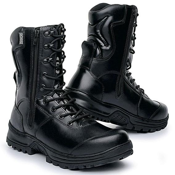 Bota Tática Masculina Policia Militar Segurança Ziper Couro
