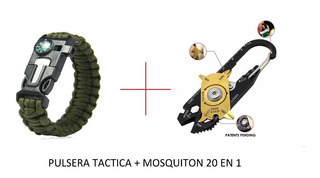 Pulsera Tactica Supervivencia + Mosqueton 20 En 1