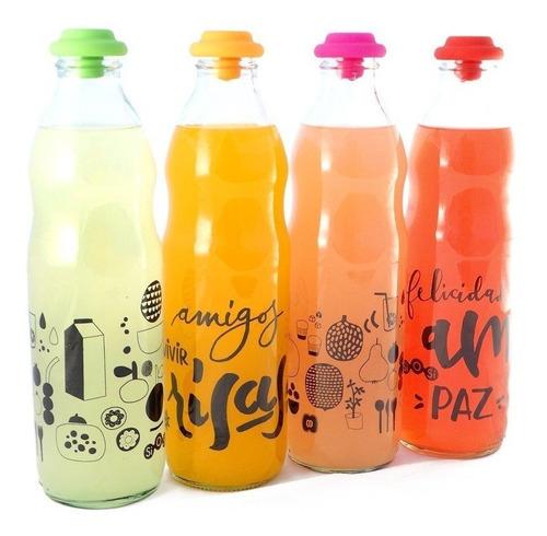 Imagen 1 de 3 de Botella De Vidrio Agua Leche Jugo Tapa Silicona