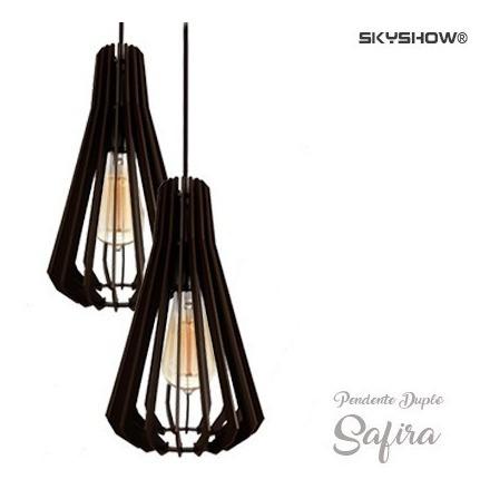 Pendente Safira Duplo + Lamp Gratis Led Retro Vintage Lustre