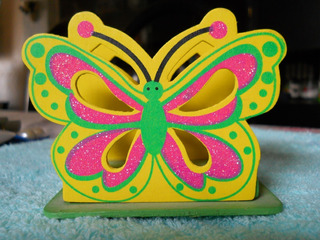 Servilletero Fibrofácil Pintado A Mano Decoupage Mariposa