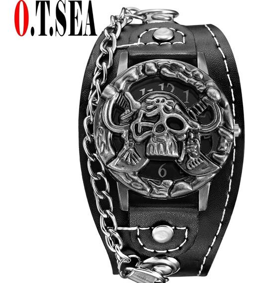 Relógio Masculino O.t.sea Bracelete De Couro Piratas Do Caribe Motoqueiro Caveira Rockeiro