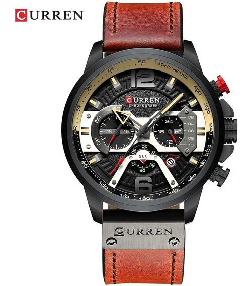 Relógio Masculino Curren 8329 Pulseira Couro 100% Funcional