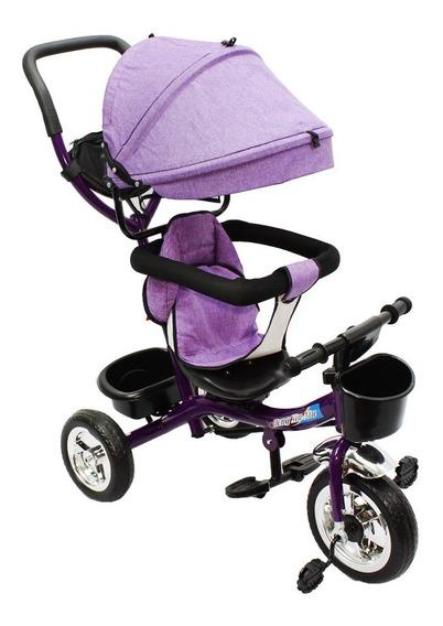 Triciclo Infantil Ferro 3 Em 1 Bicicleta Carrinho Bebe Teto