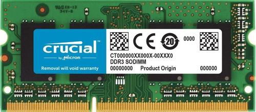 Imagen 1 de 1 de Memoria Ram Crucial 8gb Ddr3l-1600mhz Sodimm Laptop Windows