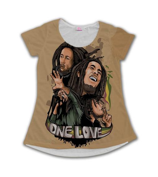 Camiseta Babylook Bob Marley One Love Reggae Swag Tumblr