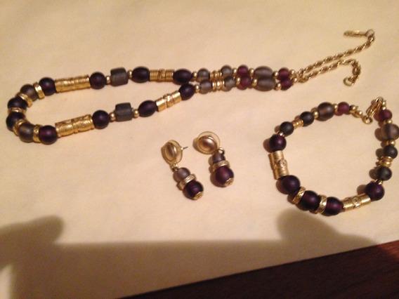 Set De Joyería De Amatista Collar Aretes De Oro Precolombino