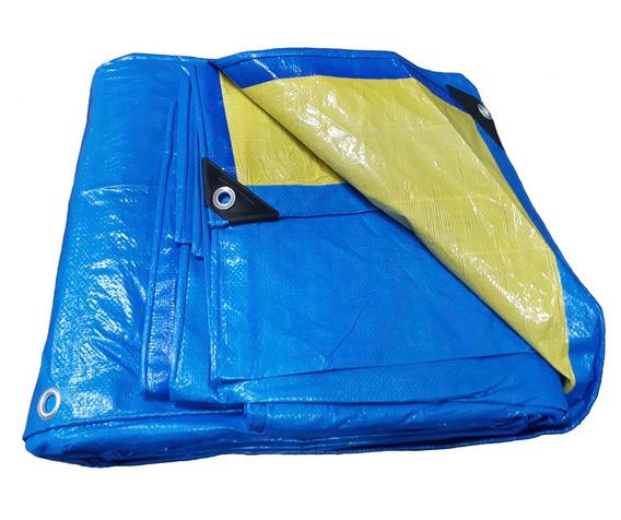 Lona Top Multiuso 4x5 Azul E Amarela Com 150 Micras + Ilhos