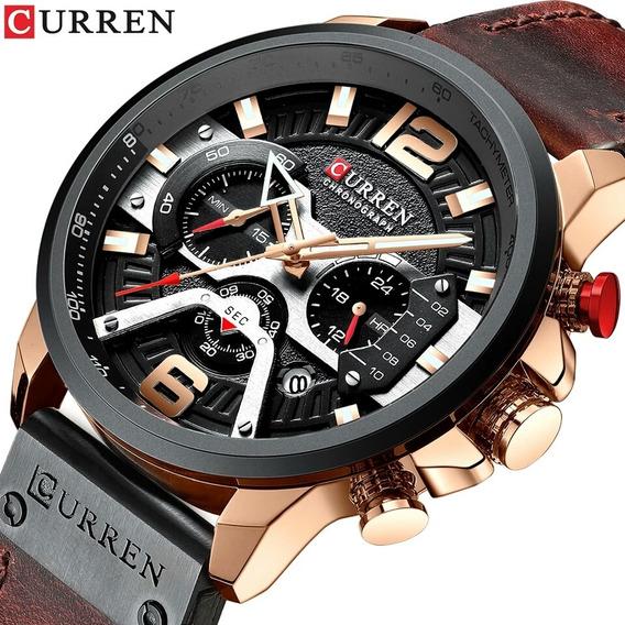 Relógio Masculino Curren 8314 Esportivo Cronógrafo P. Couro