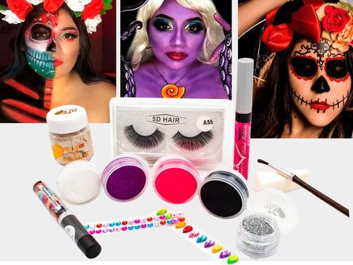 Imagen 1 de 2 de Kit Maquillaje  Para Catrina Cremoso 12 Pzas