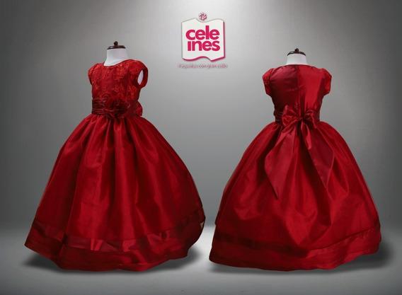Vestido Fiesta Recuerdera Niña Rojo Y Rosa Cele Ines #4-6 R