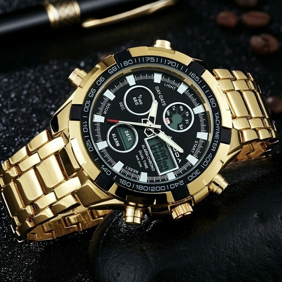 Mens Sport Watch Led Ouro Relogio