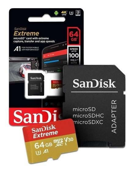 Cartão De Memória Microsd 64gb Sandisk C10 Extreme